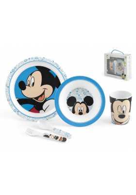 Coffret-Mickey-avec -assiette -plate-et-creuse-gobelet-couverts