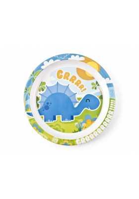 Assiette-Plate-mélaminé-Dinosaure